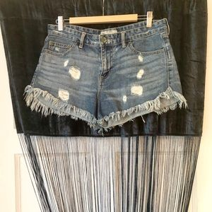 Free People✨High Waisted Distressed Jean Shorts